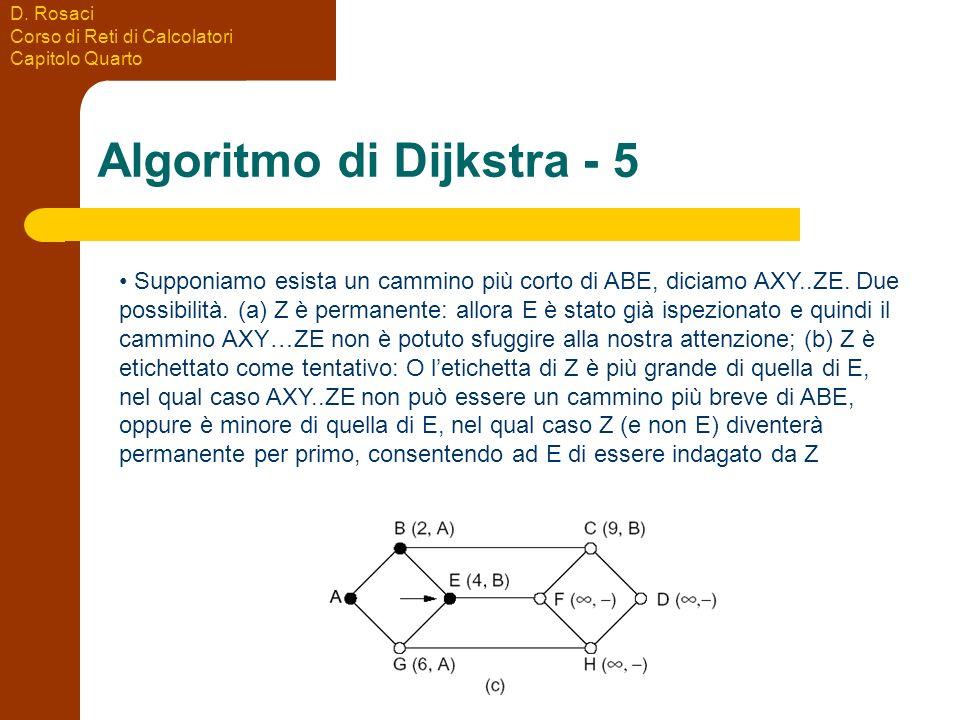 D. Rosaci Corso di Reti di Calcolatori Capitolo Quarto Algoritmo di Dijkstra - 5 Supponiamo esista un cammino più corto di ABE, diciamo AXY..ZE. Due p