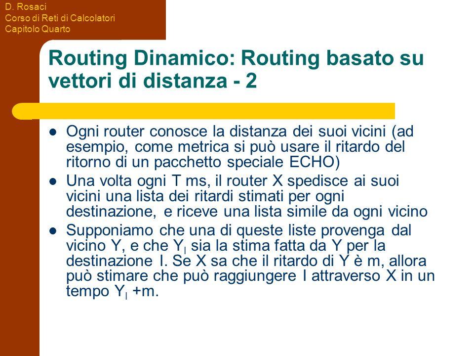 D. Rosaci Corso di Reti di Calcolatori Capitolo Quarto Routing Dinamico: Routing basato su vettori di distanza - 2 Ogni router conosce la distanza dei