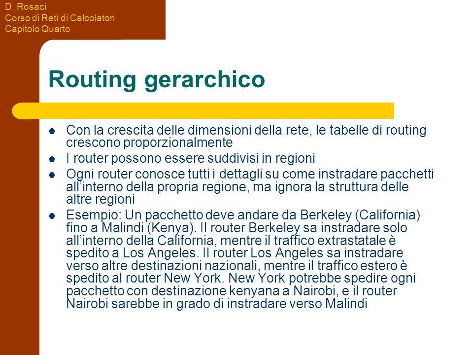 D. Rosaci Corso di Reti di Calcolatori Capitolo Quarto Routing gerarchico Con la crescita delle dimensioni della rete, le tabelle di routing crescono
