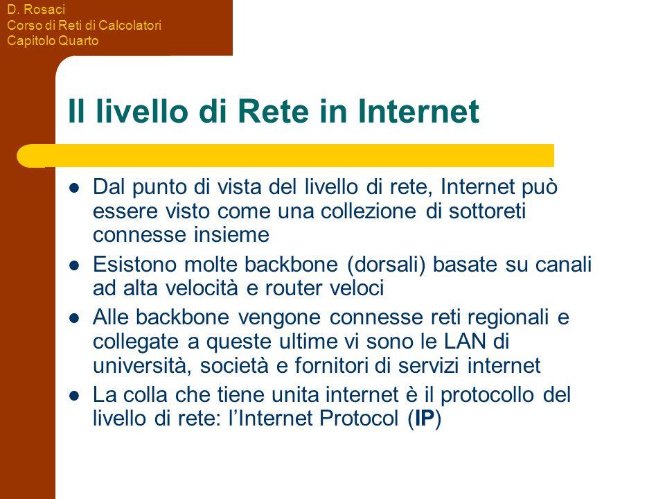 D. Rosaci Corso di Reti di Calcolatori Capitolo Quarto Il livello di Rete in Internet Dal punto di vista del livello di rete, Internet può essere vist