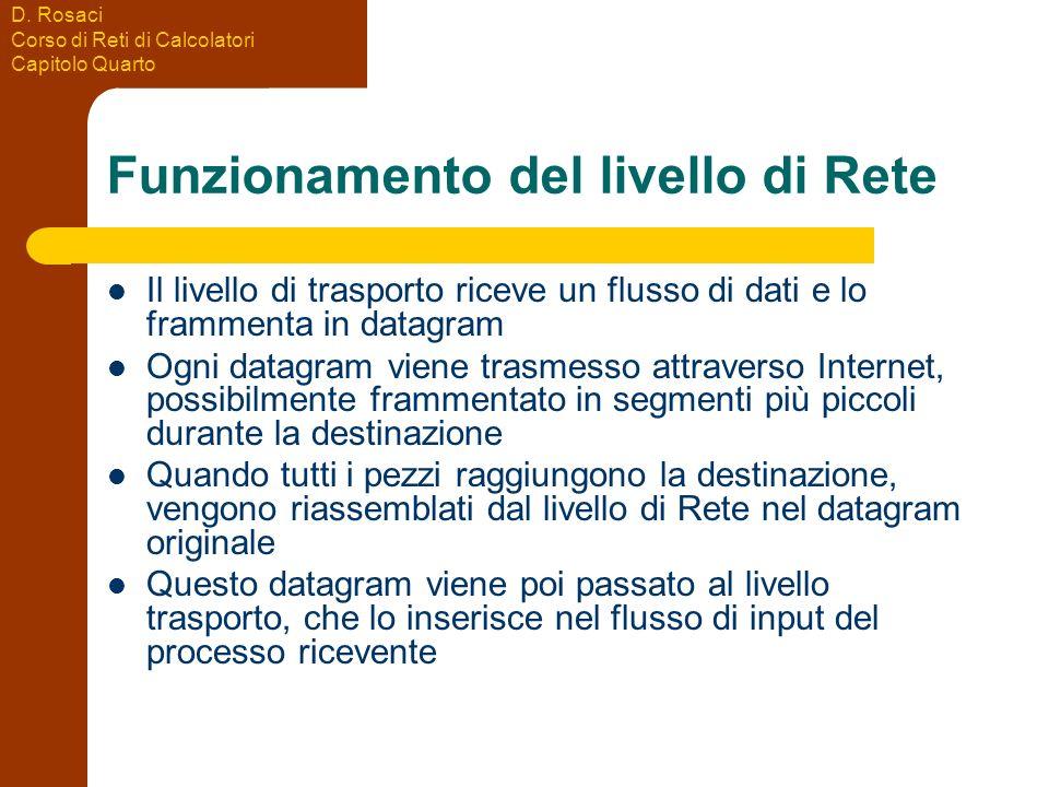 D. Rosaci Corso di Reti di Calcolatori Capitolo Quarto Funzionamento del livello di Rete Il livello di trasporto riceve un flusso di dati e lo frammen