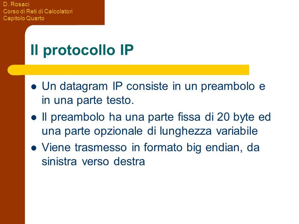 D. Rosaci Corso di Reti di Calcolatori Capitolo Quarto Il protocollo IP Un datagram IP consiste in un preambolo e in una parte testo. Il preambolo ha
