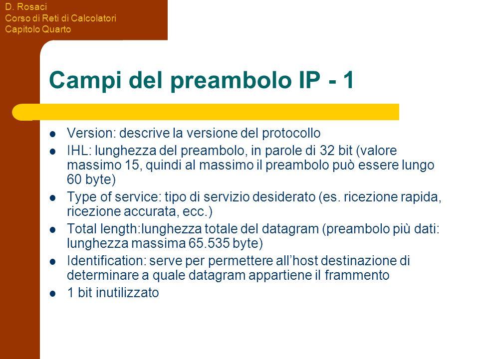 D. Rosaci Corso di Reti di Calcolatori Capitolo Quarto Campi del preambolo IP - 1 Version: descrive la versione del protocollo IHL: lunghezza del prea