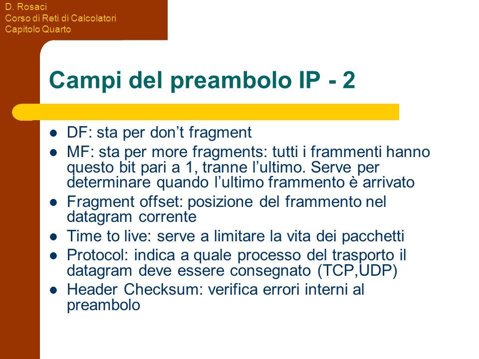 D. Rosaci Corso di Reti di Calcolatori Capitolo Quarto Campi del preambolo IP - 2 DF: sta per dont fragment MF: sta per more fragments: tutti i framme