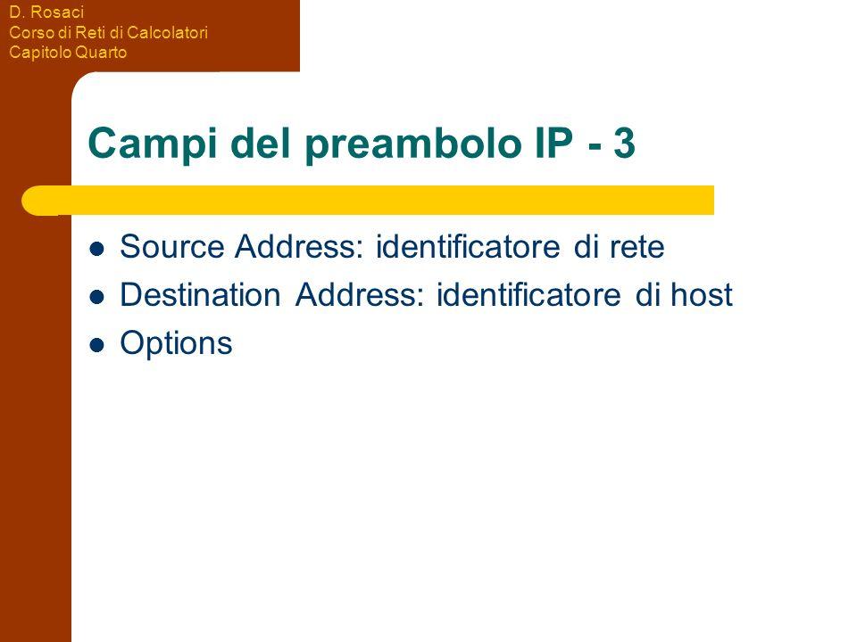 D. Rosaci Corso di Reti di Calcolatori Capitolo Quarto Campi del preambolo IP - 3 Source Address: identificatore di rete Destination Address: identifi