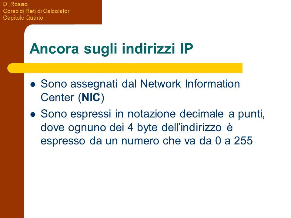 D. Rosaci Corso di Reti di Calcolatori Capitolo Quarto Ancora sugli indirizzi IP Sono assegnati dal Network Information Center (NIC) Sono espressi in