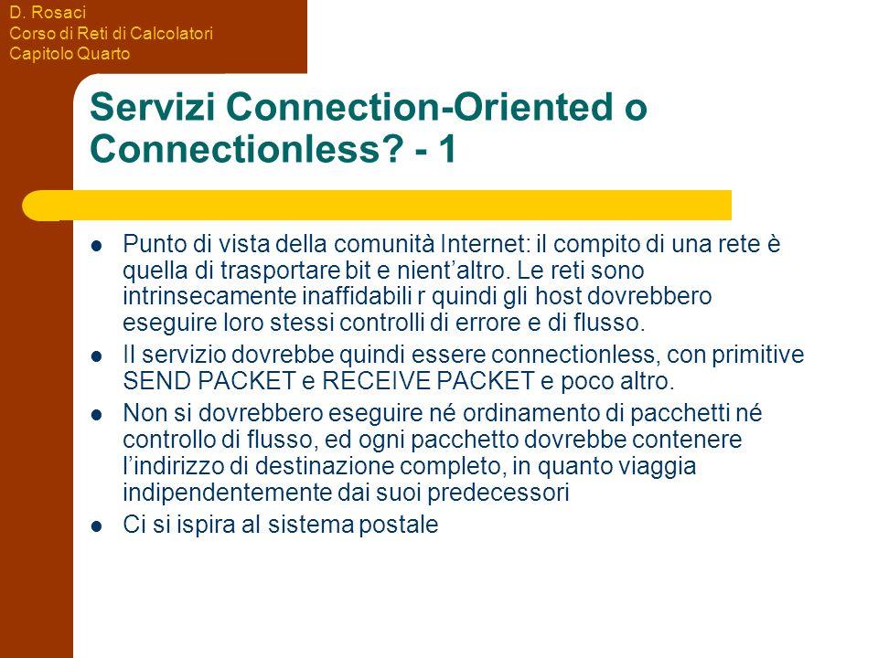 D. Rosaci Corso di Reti di Calcolatori Capitolo Quarto Servizi Connection-Oriented o Connectionless? - 1 Punto di vista della comunità Internet: il co