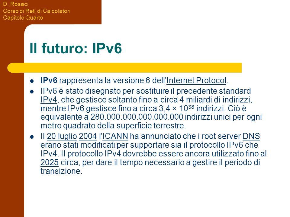 D. Rosaci Corso di Reti di Calcolatori Capitolo Quarto Il futuro: IPv6 IPv6 rappresenta la versione 6 dell'Internet Protocol.Internet Protocol IPv6 è