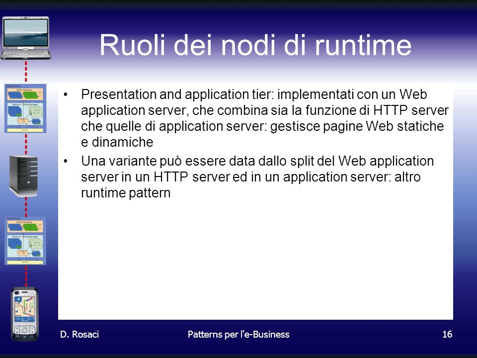 16 Ruoli dei nodi di runtime Presentation and application tier: implementati con un Web application server, che combina sia la funzione di HTTP server che quelle di application server: gestisce pagine Web statiche e dinamiche Una variante può essere data dallo split del Web application server in un HTTP server ed in un application server: altro runtime pattern D.