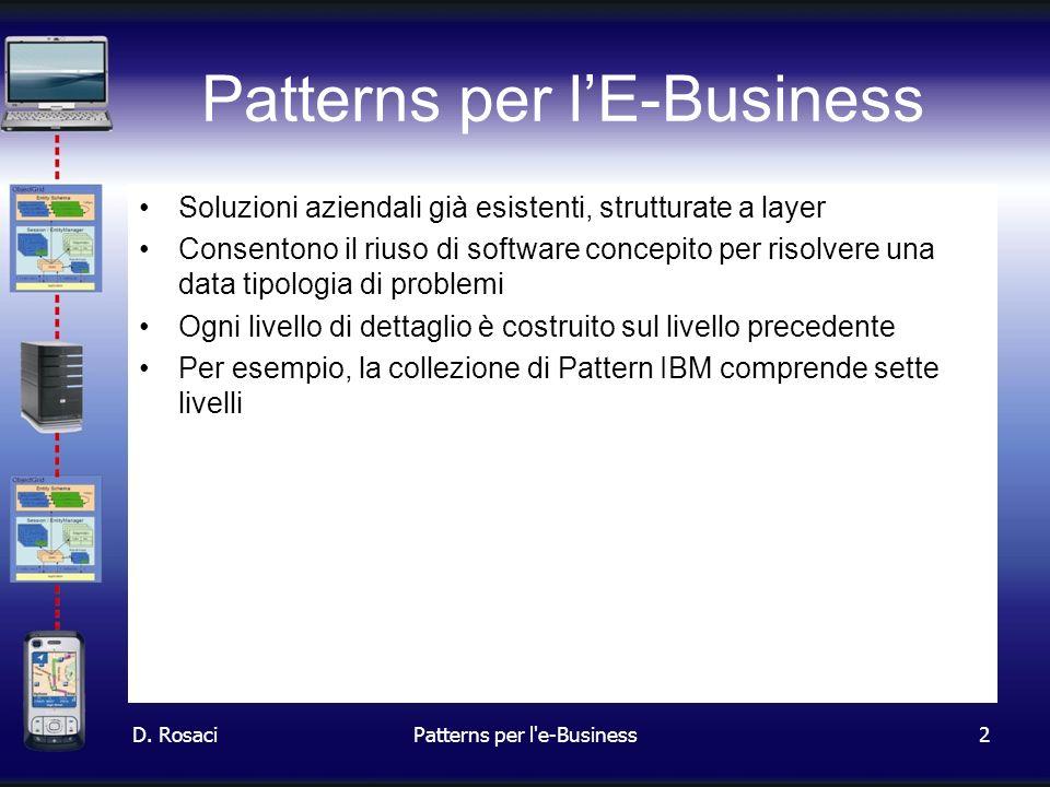 2 Patterns per lE-Business Soluzioni aziendali già esistenti, strutturate a layer Consentono il riuso di software concepito per risolvere una data tipologia di problemi Ogni livello di dettaglio è costruito sul livello precedente Per esempio, la collezione di Pattern IBM comprende sette livelli D.