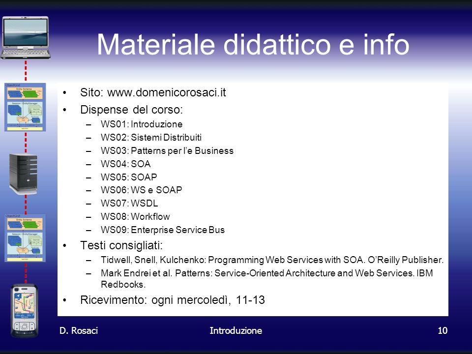 10 Materiale didattico e info Sito: www.domenicorosaci.it Dispense del corso: –WS01: Introduzione –WS02: Sistemi Distribuiti –WS03: Patterns per le Bu