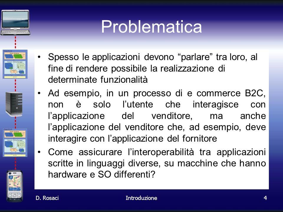 4 Problematica Spesso le applicazioni devono parlare tra loro, al fine di rendere possibile la realizzazione di determinate funzionalità Ad esempio, i
