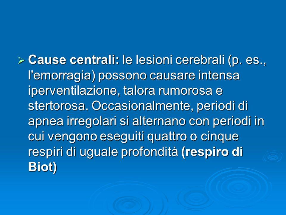 Cause centrali: le lesioni cerebrali (p. es., l'emorragia) possono causare intensa iperventilazione, talora rumorosa e stertorosa. Occasionalmente, pe