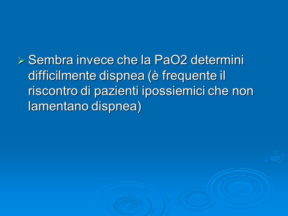 Sembra invece che la PaO2 determini difficilmente dispnea (è frequente il riscontro di pazienti ipossiemici che non lamentano dispnea) Sembra invece c