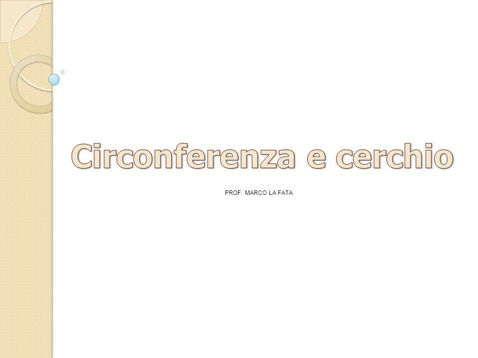 Definizione di circonferenza Definizione di cerchio Si definisce cerchio la porzione di piano racchiusa da una circonferenza Raggio Si definisce raggio di una circonferenza in segmento che unisce il centro con un qualsiasi punto della circonferenza Corda e diametro Si definisce corda qualsiasi segmento che unisce due punti della circonferenza Si definisce diametro una corda che passa per il centro della circonferenza d = 2r PROF.