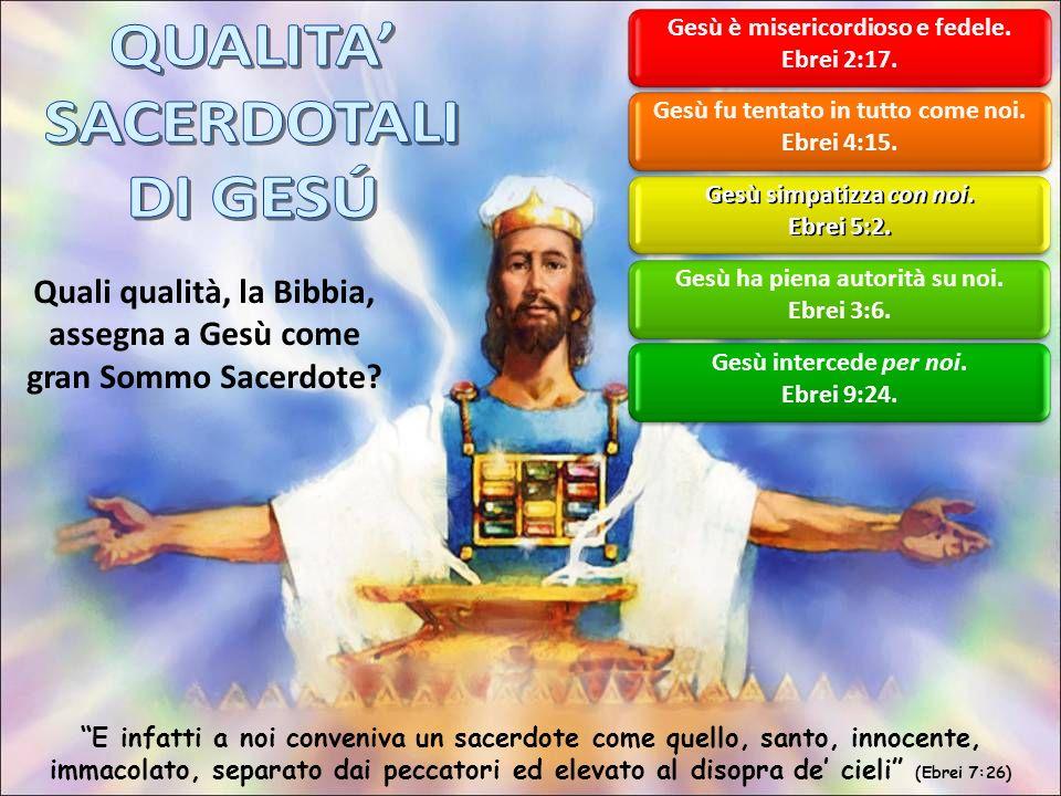 Quali qualità, la Bibbia, assegna a Gesù come gran Sommo Sacerdote.