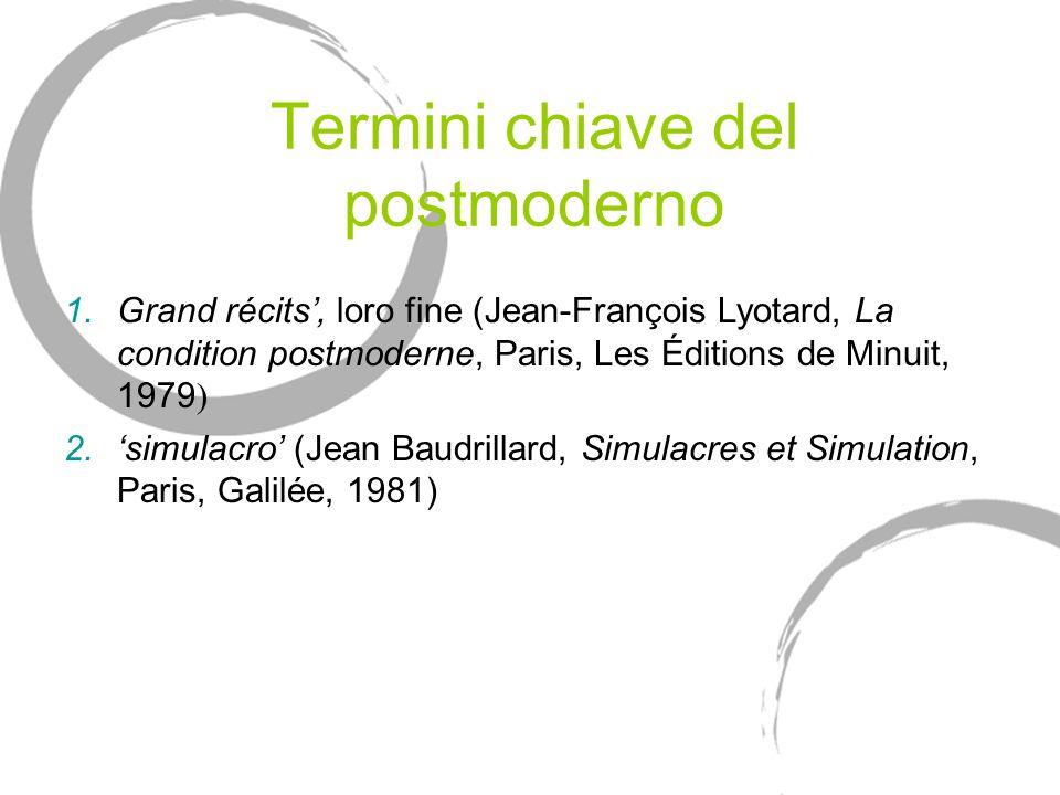 Termini chiave del postmoderno 1.Grand récits, loro fine (Jean-François Lyotard, La condition postmoderne, Paris, Les Éditions de Minuit, 1979 ) 2.sim