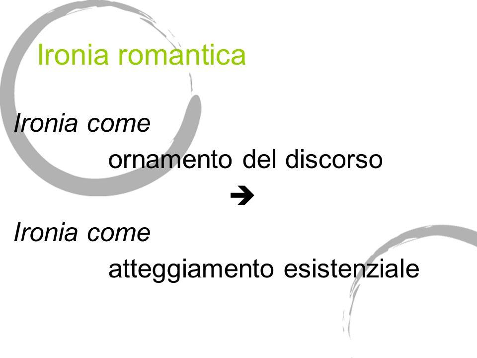 Ironia romantica Ironia come ornamento del discorso Ironia come atteggiamento esistenziale