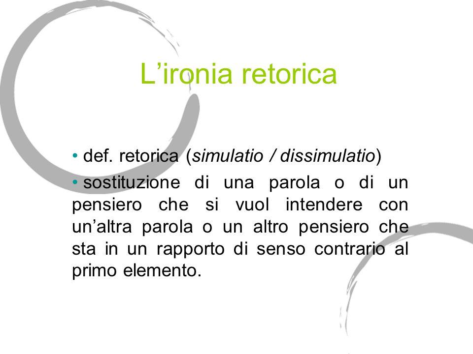 Lironia retorica def. retorica (simulatio / dissimulatio) sostituzione di una parola o di un pensiero che si vuol intendere con unaltra parola o un al