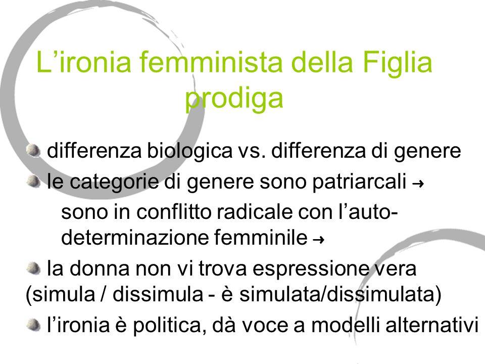 Lironia femminista della Figlia prodiga differenza biologica vs. differenza di genere le categorie di genere sono patriarcali sono in conflitto radica