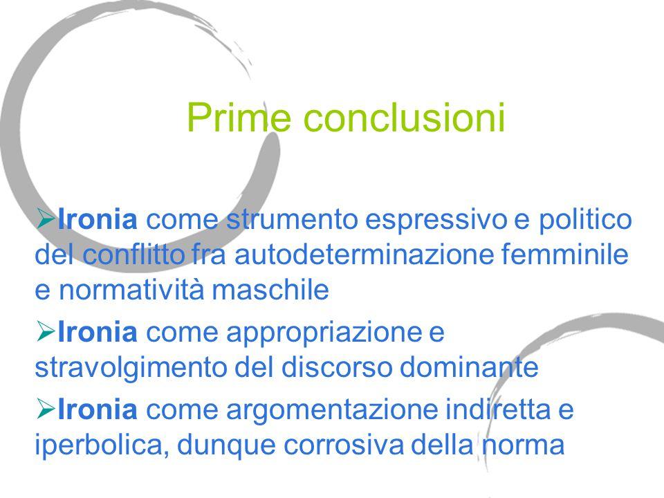 Prime conclusioni Ironia come strumento espressivo e politico del conflitto fra autodeterminazione femminile e normatività maschile Ironia come appropriazione e stravolgimento del discorso dominante Ironia come argomentazione indiretta e iperbolica, dunque corrosiva della norma