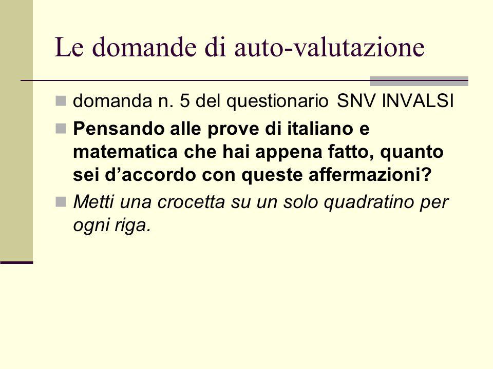 Le domande di auto-valutazione domanda n. 5 del questionario SNV INVALSI Pensando alle prove di italiano e matematica che hai appena fatto, quanto sei