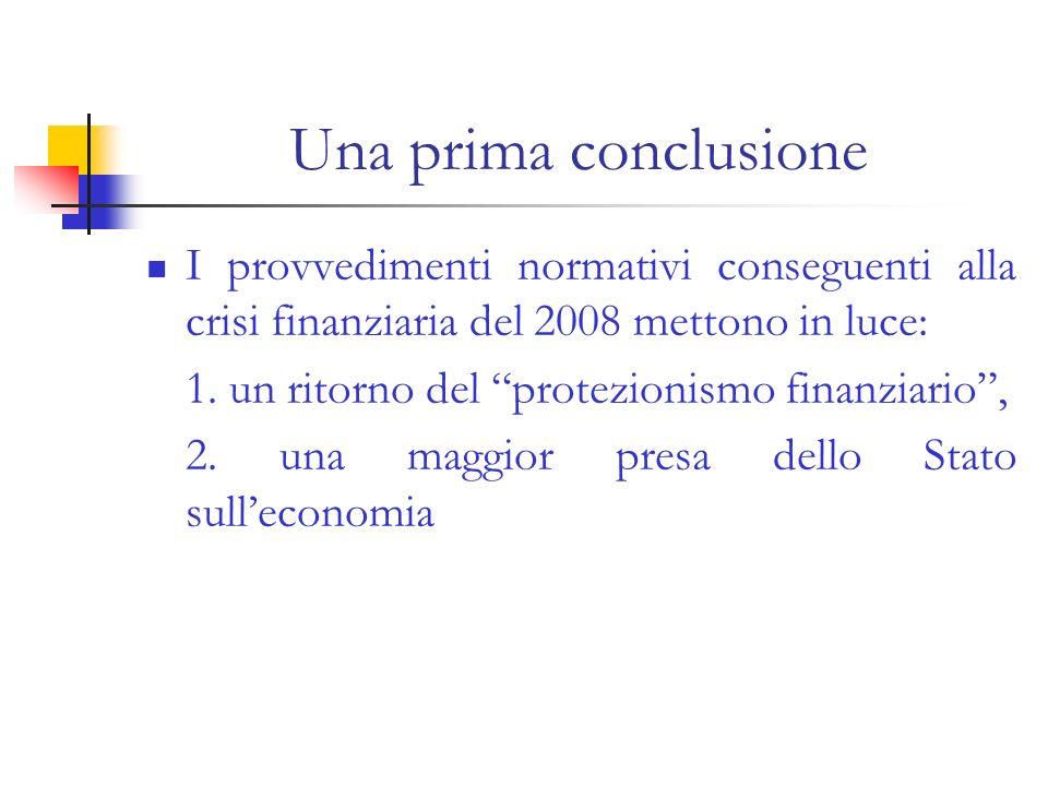 Una prima conclusione I provvedimenti normativi conseguenti alla crisi finanziaria del 2008 mettono in luce: 1. un ritorno del protezionismo finanziar