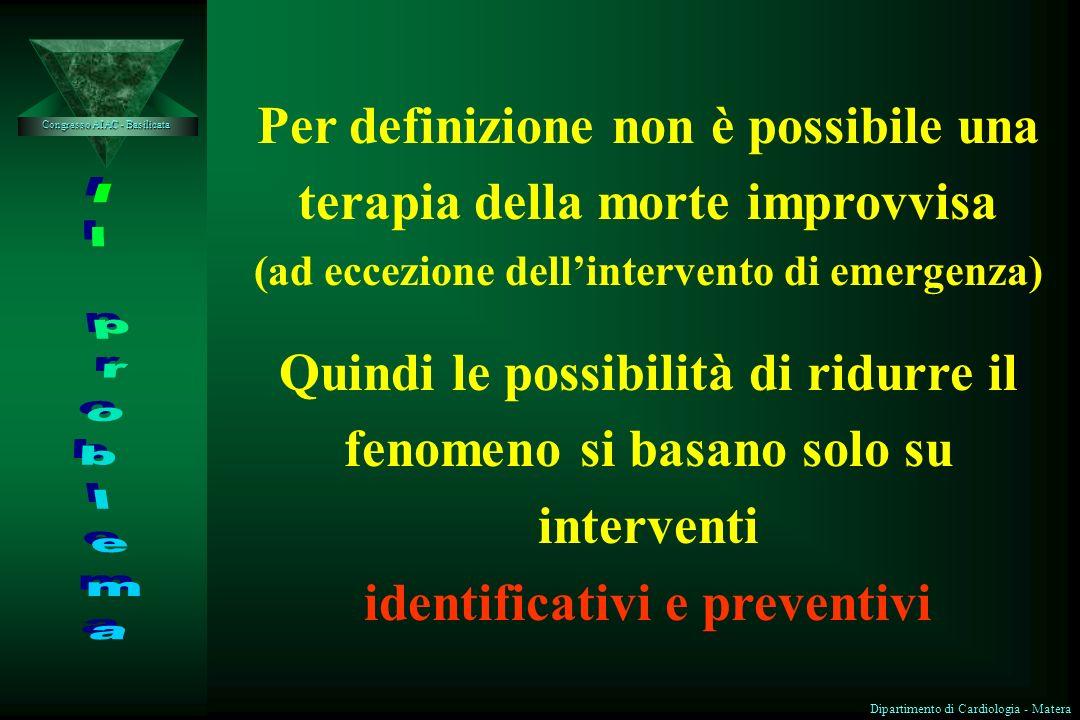 IDENTIFICAZIONE DEI PAZIENTI A RISCHIO DI MORTE CARDIACA IMPROVVISA Congresso AIAC - Basilicata Dott. Angelo Rizzi