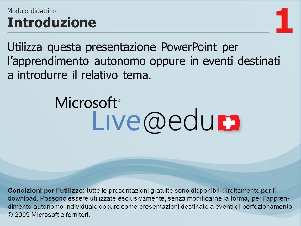 1 Utilizza questa presentazione PowerPoint per lapprendimento autonomo oppure in eventi destinati a introdurre il relativo tema. Introduzione Modulo d