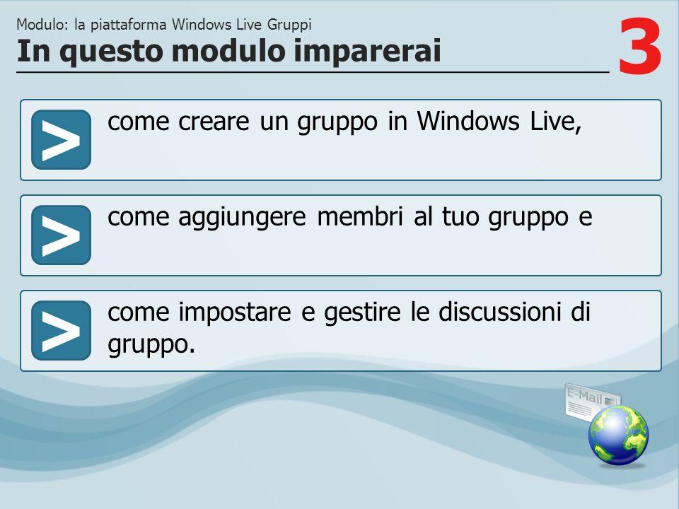 3 >> come aggiungere membri al tuo gruppo e come impostare e gestire le discussioni di gruppo. In questo modulo imparerai Modulo: la piattaforma Windo