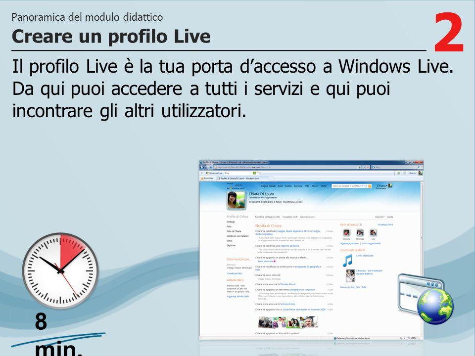 2 Il profilo Live è la tua porta daccesso a Windows Live. Da qui puoi accedere a tutti i servizi e qui puoi incontrare gli altri utilizzatori. Creare