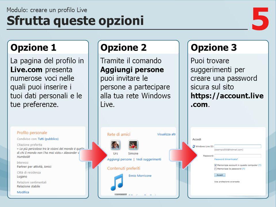 5 Opzione 1 La pagina del profilo in Live.com presenta numerose voci nelle quali puoi inserire i tuoi dati personali e le tue preferenze. Opzione 2Opz