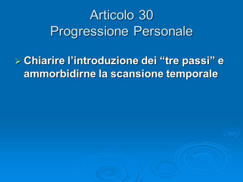 Articolo 30 Progressione Personale Chiarire lintroduzione dei tre passi e ammorbidirne la scansione temporale Chiarire lintroduzione dei tre passi e a