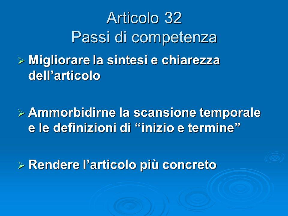 Articolo 32 Passi di competenza Migliorare la sintesi e chiarezza dellarticolo Migliorare la sintesi e chiarezza dellarticolo Ammorbidirne la scansion