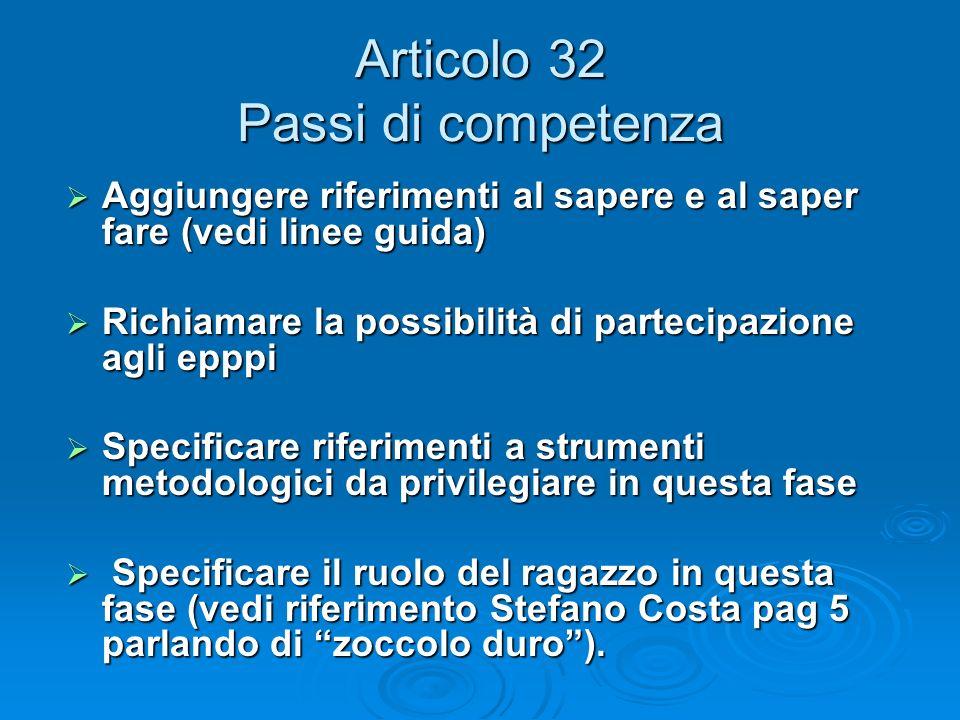 Articolo 32 Passi di competenza Aggiungere riferimenti al sapere e al saper fare (vedi linee guida) Aggiungere riferimenti al sapere e al saper fare (