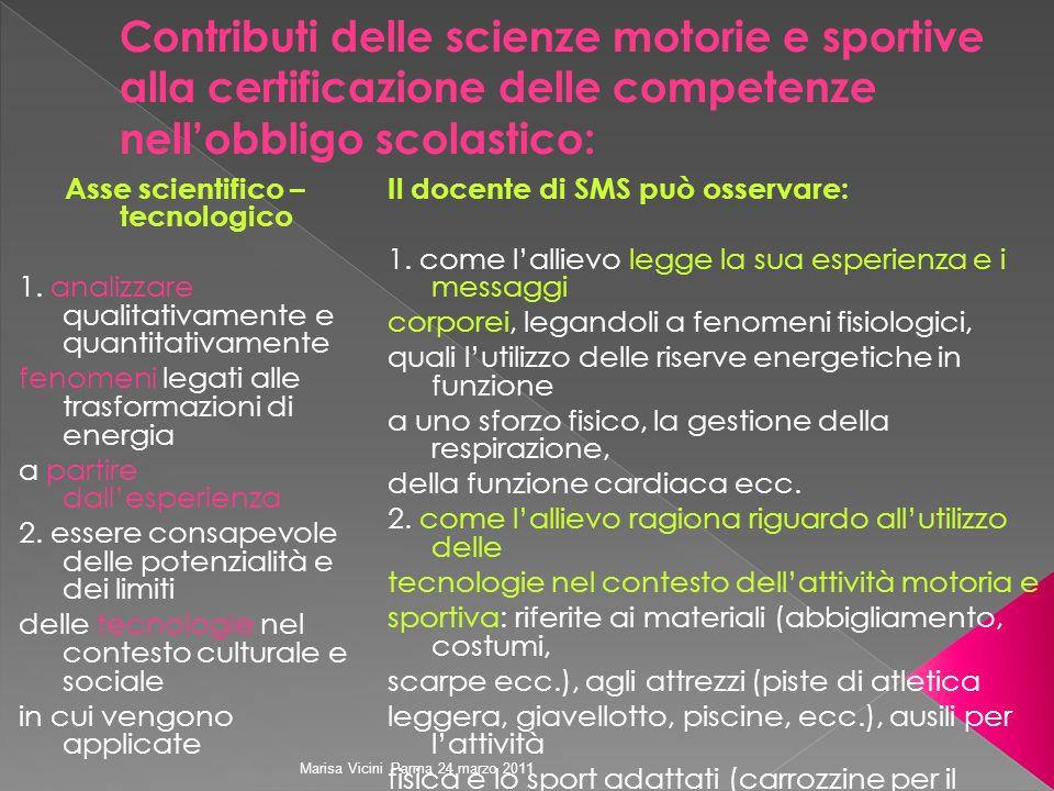 Marisa Vicini Parma 24 marzo 2011 Asse scientifico – tecnologico 1. analizzare qualitativamente e quantitativamente fenomeni legati alle trasformazion
