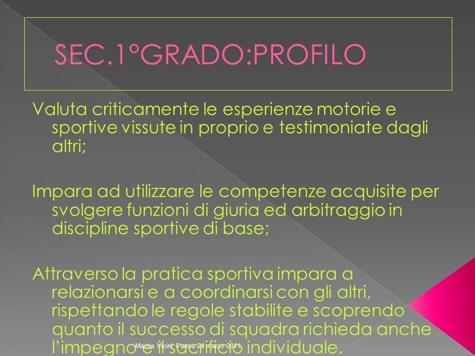 Marisa Vicini Parma 24 marzo 2011 Valuta criticamente le esperienze motorie e sportive vissute in proprio e testimoniate dagli altri; Impara ad utiliz