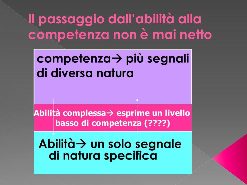 Abilità un solo segnale di natura specifica competenza più segnali di diversa natura Abilità complessa esprime un livello basso di competenza (????)