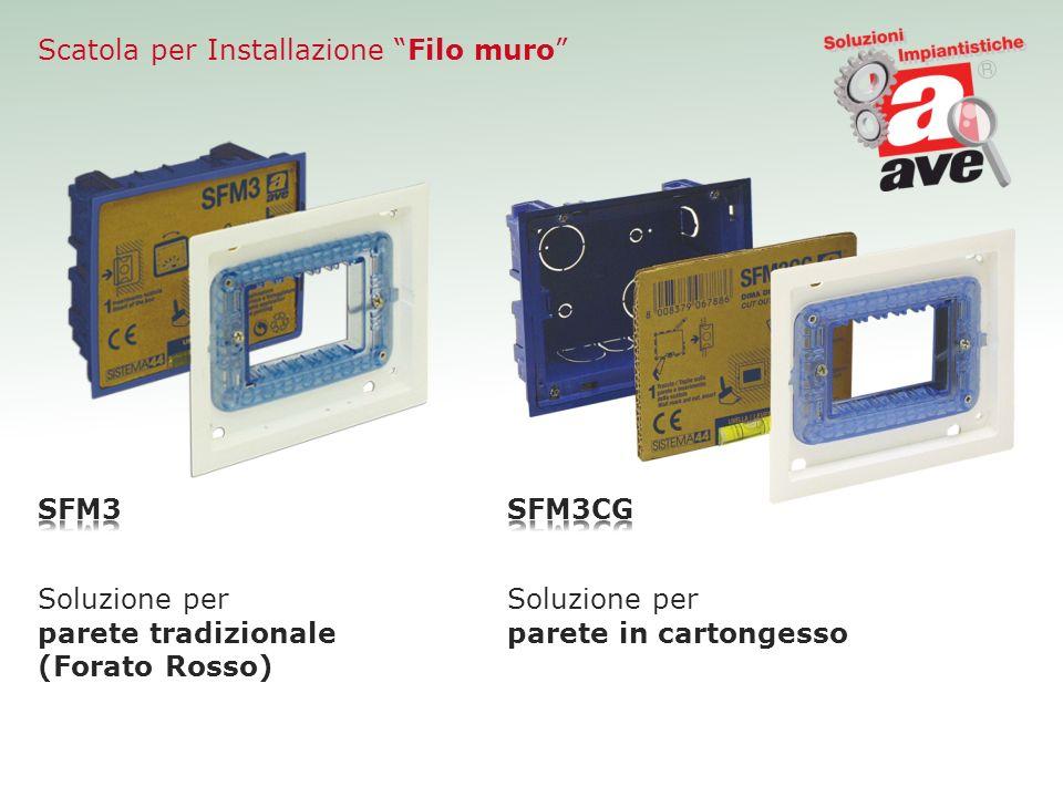 Scatola per Installazione Filo muro Soluzione per parete tradizionale (Forato Rosso) Soluzione per parete in cartongesso
