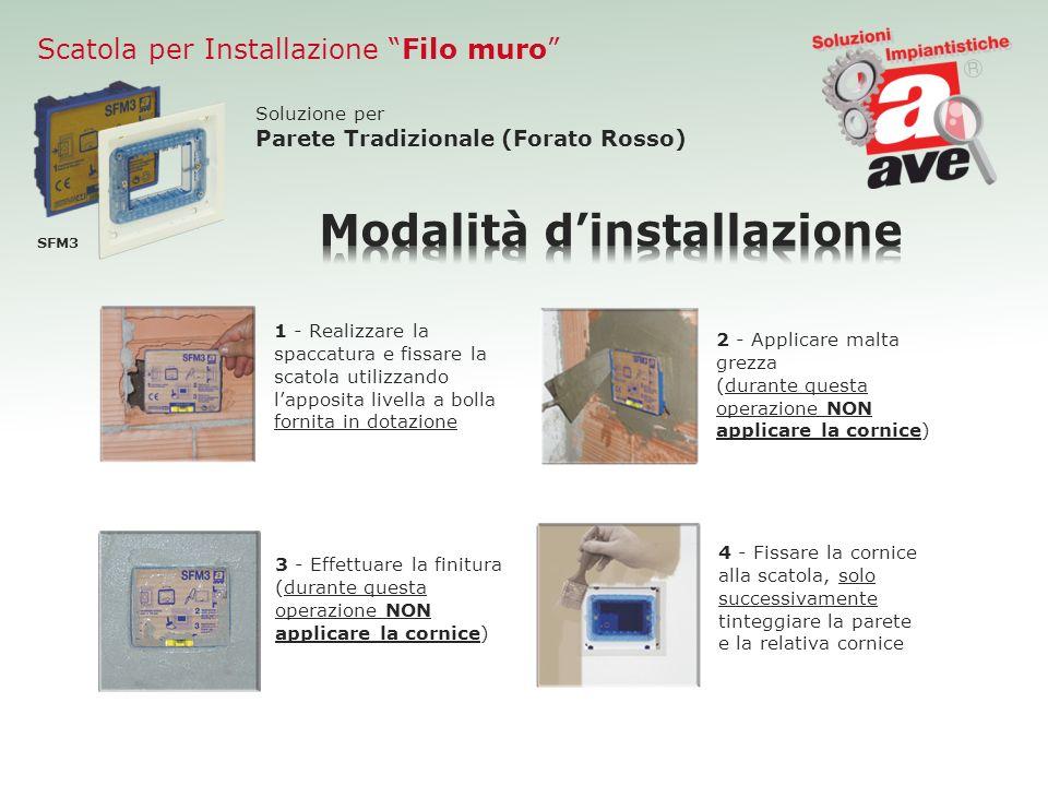 Scatola per Installazione Filo muro SFM3 Soluzione per Parete Tradizionale (Forato Rosso) 1 - Realizzare la spaccatura e fissare la scatola utilizzand
