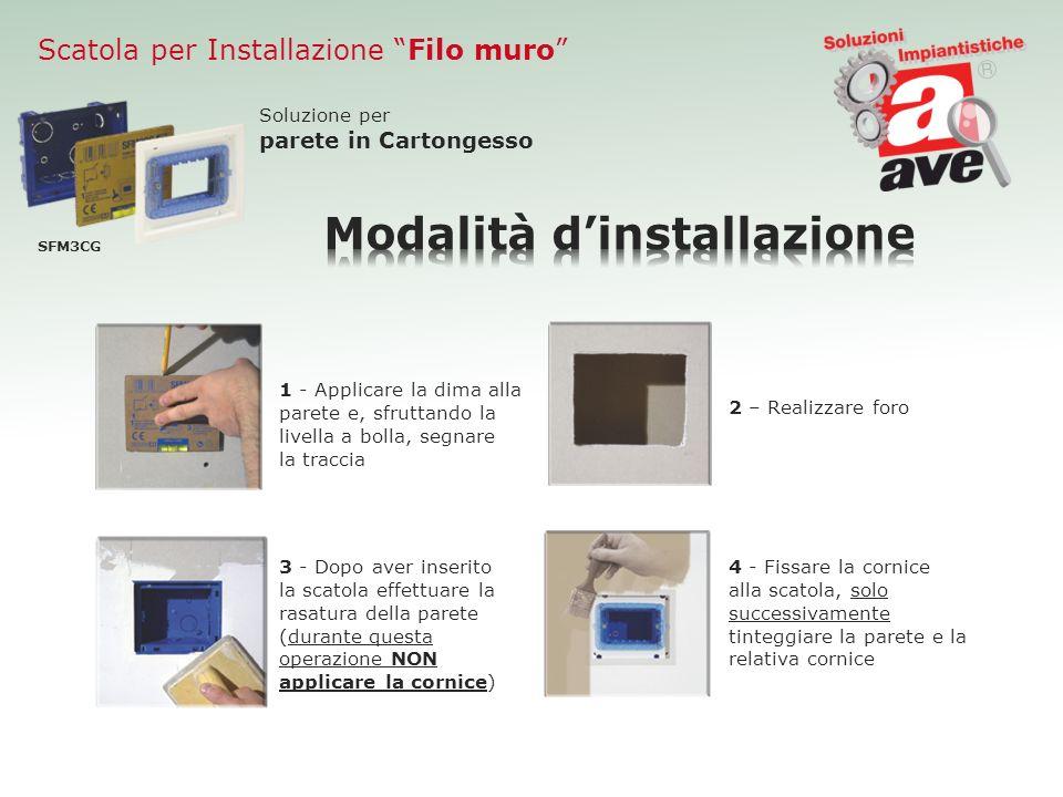 Scatola per Installazione Filo muro SFM3CG Soluzione per parete in Cartongesso 1 - Applicare la dima alla parete e, sfruttando la livella a bolla, seg