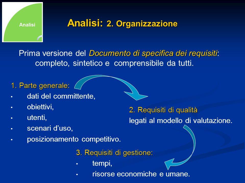 Analisi: 2. Organizzazione 1. Parte generale: dati del committente, obiettivi, utenti, scenari duso, posizionamento competitivo. 2. Requisiti di quali