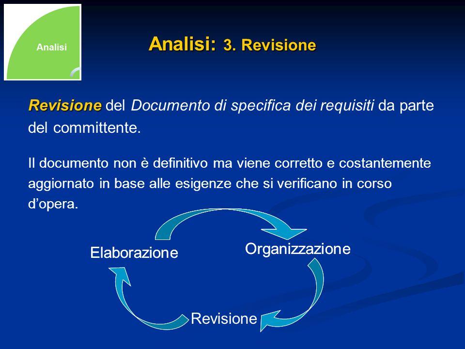 Analisi: 3. Revisione Revisione Revisione del Documento di specifica dei requisiti da parte del committente. Il documento non è definitivo ma viene co