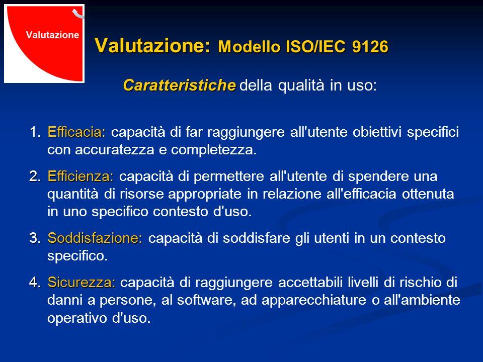 Valutazione: Modello ISO/IEC 9126 Caratteristiche Caratteristiche della qualità in uso: 1.Efficacia: 1.Efficacia: capacità di far raggiungere all'uten