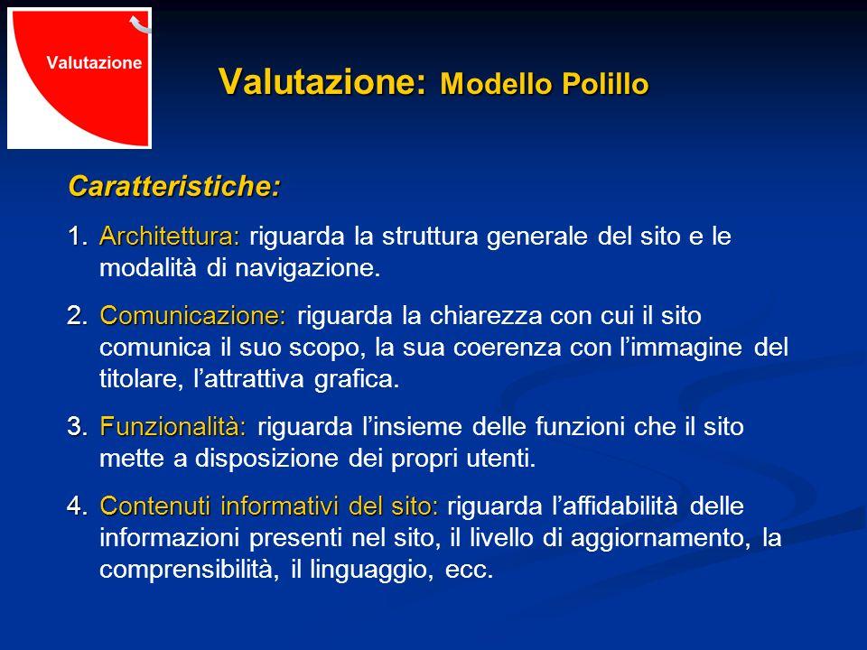Valutazione: Modello Polillo Caratteristiche: 1.Architettura: 1.Architettura: riguarda la struttura generale del sito e le modalità di navigazione. 2.