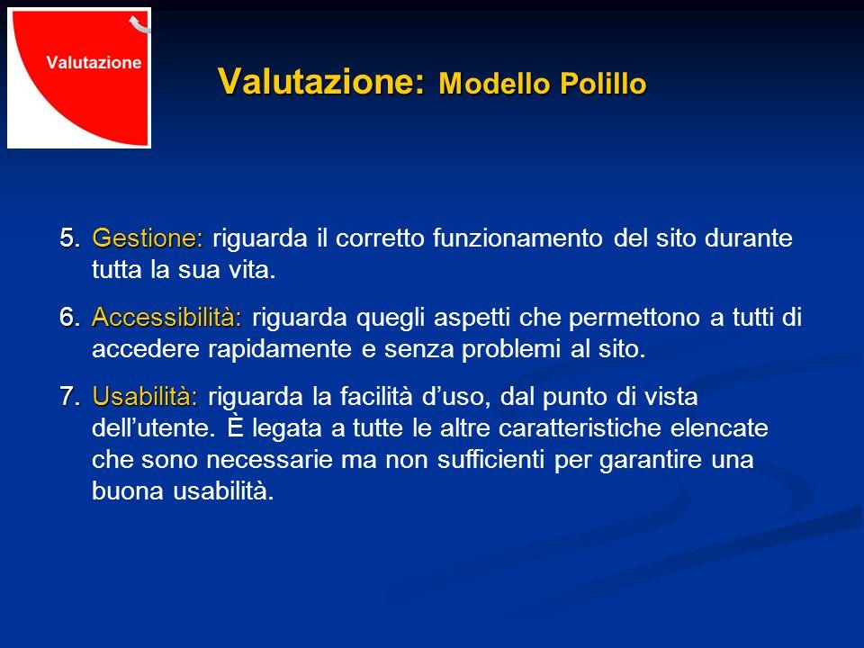 Valutazione: Modello Polillo 5.Gestione: 5.Gestione: riguarda il corretto funzionamento del sito durante tutta la sua vita. 6.Accessibilità: 6.Accessi