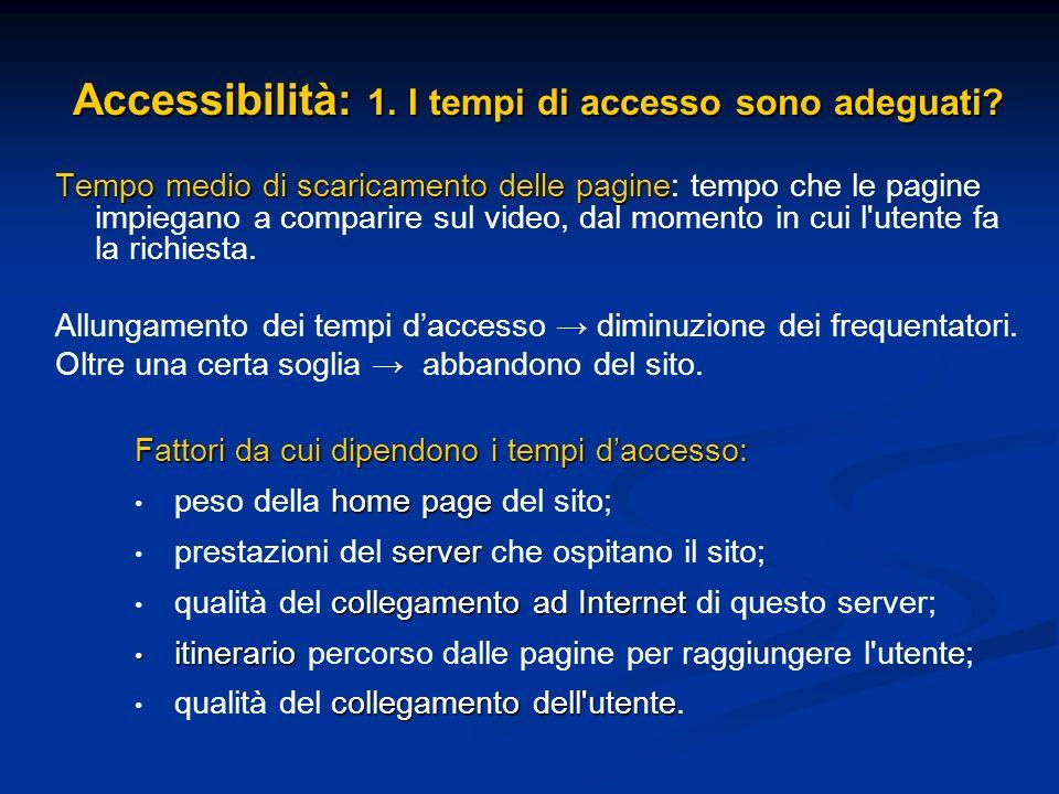 Accessibilità: 1. I tempi di accesso sono adeguati? Tempo medio di scaricamento delle pagine Tempo medio di scaricamento delle pagine: tempo che le pa
