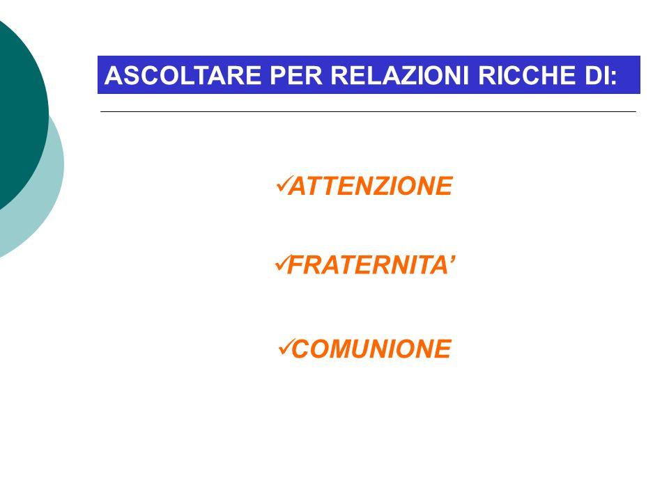 ASCOLTARE PER RELAZIONI RICCHE DI: ATTENZIONE FRATERNITA COMUNIONE