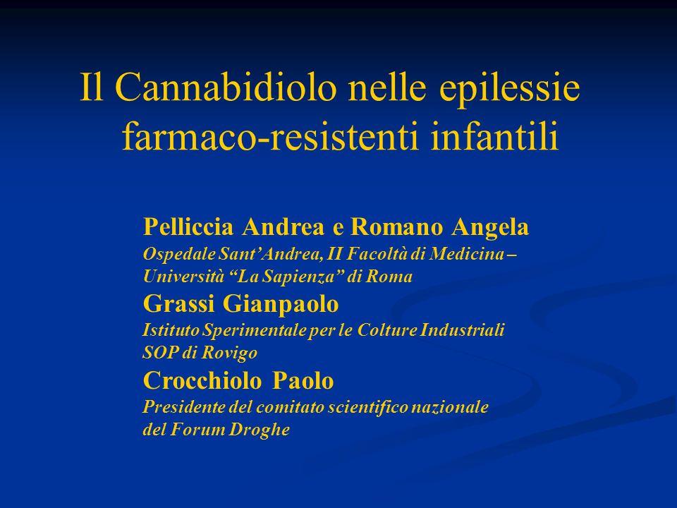 Il Cannabidiolo nelle epilessie farmaco-resistenti infantili Pelliccia Andrea e Romano Angela Ospedale SantAndrea, II Facoltà di Medicina – Università