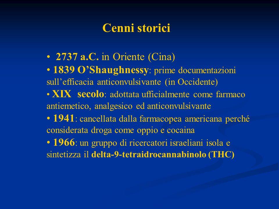 Cenni storici 2737 a.C. in Oriente (Cina) 1839 OShaughnessy : prime documentazioni sullefficacia anticonvulsivante (in Occidente) XIX secolo : adottat